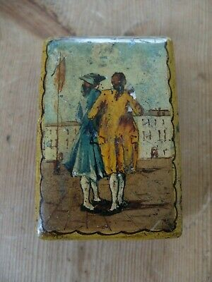 late 18th/early 19th century small painted wooden box with male figures in scene