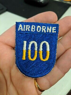 WWII era US Army 100th airborne division patch with attached tab LOOK!