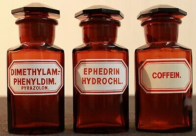 3 Apotheker Flaschen eckig pharmacy pharmacie bottle Dimethylam Ephedrin Coffein