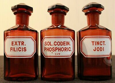 3 Apotheker Flaschen eckig pharmacy bottle Filicis Codein Jodi