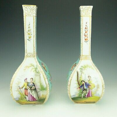 Antique Pair Of Dresden Porcelain Hand Painted Figure Decorated Vases - Lovely!