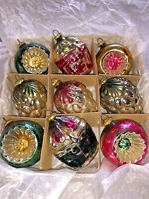 Vintage BOXED SET OF 9 Fancy Glass FEATHER TREE Christmas Ornaments OCC. JAPAN
