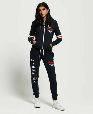 New Womens Superdry Track & Field Lightweight Joggers Eclipse Navy