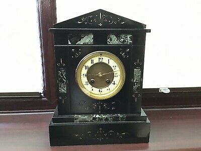 Antique Black Slate Mantle Clock