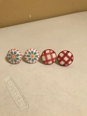 Lot of 4 Flowers & Plaid White Ceramic Porcelain Door Knob Handle Drawer Pull 1""
