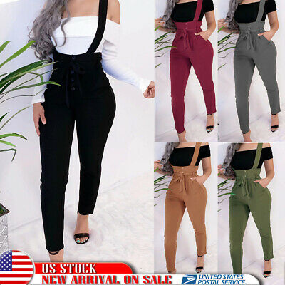 Womens High Waist Bib Pants Dungarees Button Casual Slim Fit Suspenders Trousers