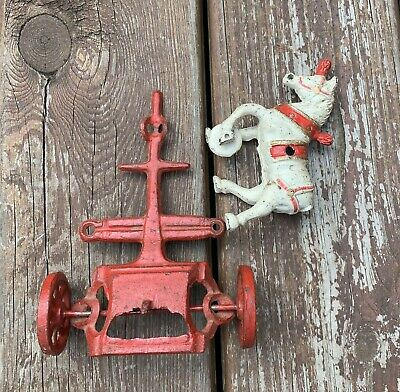 Antique Cast Iron Horse And, Wagon - Antique Cast Iron Toys