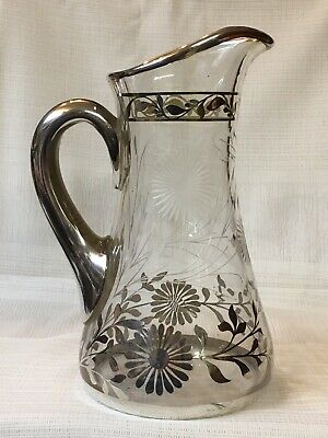 Antique Sterling Silver Overlay Crystal Pitcher ~ Tall Elegant Floral Marked 10""