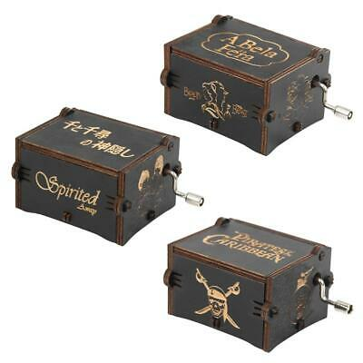H3E# Vintage Exquisite Wooden Hand Cranked Music Box Home Crafts Children Gifts