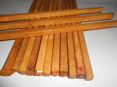 """14 YELLOW BAKELITE RODS  1 LB or 453.59 GRAMS SMALL 3/8ths"""" SQUARE 10"""" L"""