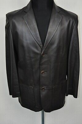 MARKS & SPENCER LEATHER DARK BROWN BLAZER JACKET size S