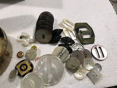 Lot Of Antique Vintage Mixed Material Buttons All Featuring Mother Of Pearl