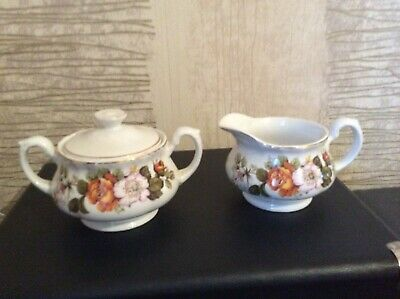 Royal Tudor Ware Milk Jug And Sugar Bowl With Lid Rosina Pattern