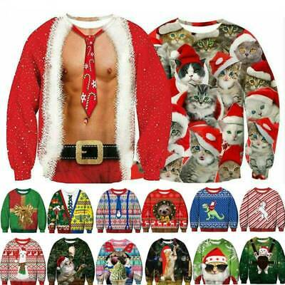 3D Printed Ugly Xmas Jumper Tops Womens Mens Christmas Santa Sweater Sweatshirt