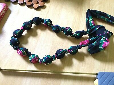 Lovely Hand Made Fabric Wrapped Bead Necklace From Krakow