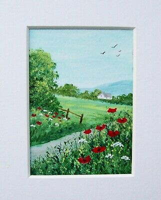 Original Wildflower Meadow 2# Signed Landscape Miniature Aceo Painting