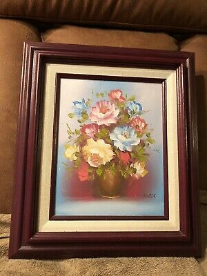 VTG FLOWERS IN VASE STILL Life oil Painting on board Signed R.Cox (Robert Cox)