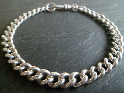 Antique Chunky Solid Silver Albert Pocket Watch Chain Bracelet