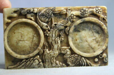 China Decor handwork Old Jade Carved Birds Under Trees & Fish Beautiful Statue