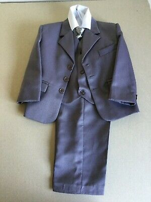 Boys 5 Piece Suit wedding other occasions Grey Size 4 years