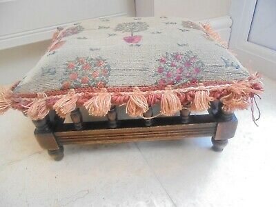 Victorian spindle gallery footstool, padded seat, project to restore re-cover