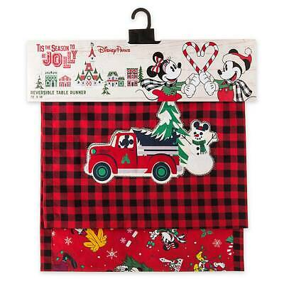 Disney Yuletide Farmhouse Mickey Friends Holiday Reversible Table Runner New