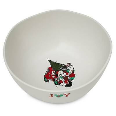 Disney Parks Yuletide Farmhouse Mickey and Minnie Holiday Serving Bowl New
