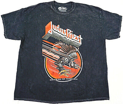 JUDAS PRIEST T-shirt Distressed Screaming For Vengeance Tee Black Acid Wash New