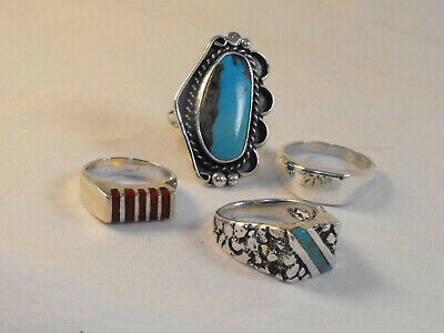 Vintage Southwestern Sterling Silver Ring Lot Turquoise Coral Tribal Old Pawn NR