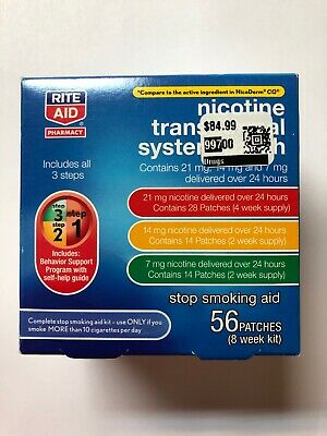 NEW Rite Aid Nicotine Transdermal System Patch Step 1, 2, 3, 56 Patches 8wk Kit