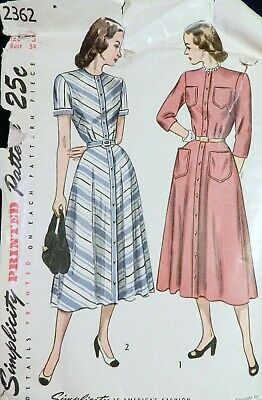 Vtg 1940s Simplicity 2362 Front Button Flared Skirt DRESS Sewing PATTERN 16