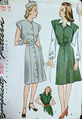Vtg 1940s WWII 1944 Simplicity 1238 Front Button DRESS Blouse Sewing PATTERN 16