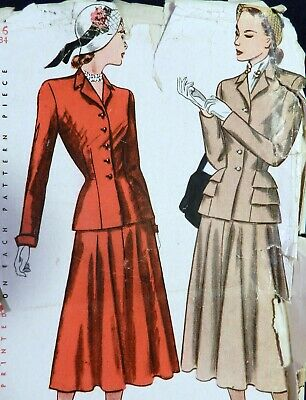 Vtg 1940s Simplicity 2324 Flared Skirt Suit DRESS Flap Jacket Sewing PATTERN 16