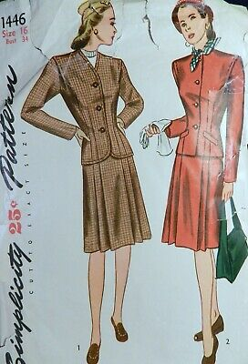 Vtg 1940s Simplicity 1446 Suit Dress Jacket Pleated Skirt Sewing PATTERN 16