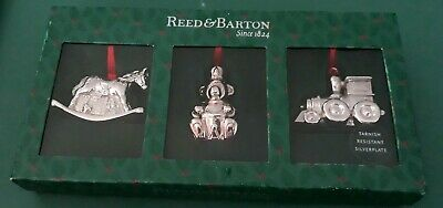 Reed And Barton Silver Plated Toy Christmas Ornaments Bear, Train, Rocking Horse