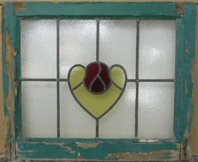 "OLD ENGLISH LEADED STAINED GLASS WINDOW Abstract Heart Design 22.5"" x 18.75"""