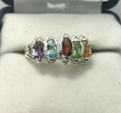 Genuine Sterling Silver Multiple Stones Ring Size 7