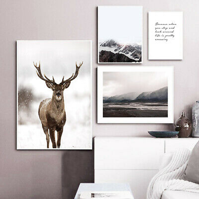 Nordic Decoration Poster Dear Mountain Nature Landscape Canvas Wall Art Print
