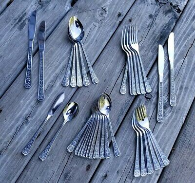Vintage/Mid-Century Modern INTERPUR FLORENZ Stainless Steel FLATWARE 36 PC Lot