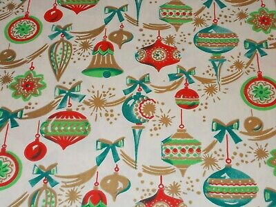 Vtg Christmas Wrapping Paper Gift Wrap 1950 Gorgeous Ornaments Garland Nos
