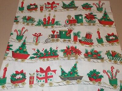 Vtg Christmas Wrapping Paper Gift Wrap 1950 Nos Train Candles Bells Holly Tree