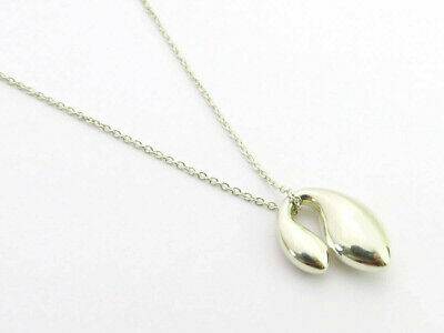 Authentic Tiffany & Co Sterling Silver Double Teardrop Pendant Necklace