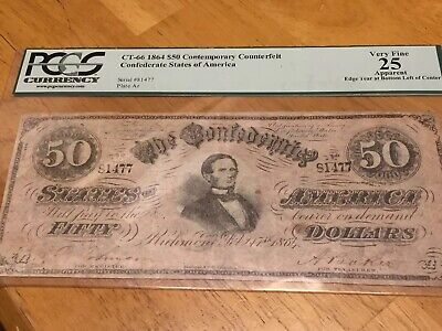"""PCGS 1864 CT-66/501 $50 The Confederate States of America """"Havana CTFT."""" Note"""