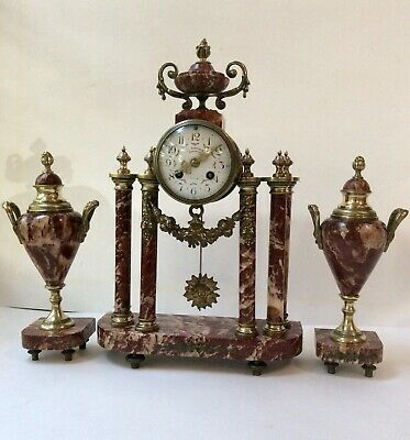 French mid 19th C. Sienna red marble & bronze Portico clock and garnitures