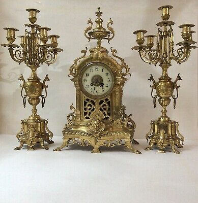 XTRA LARGE JAPY FRERES 19TH C. Real Ormolu mantle clock & candelabra garniture