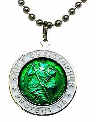 """St. Christopher Surf Necklace LARGE Pendant GREEN W WHITE Rim 23"""" Ball Chain"""