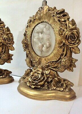 EXTRA LARGE PAIR of Louis XVI style gilded Baroque Clock Brackets