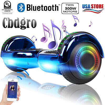 "6.5"" Bluetooth Hoverboard Electric Scooter LED Balancing UL2272 Blue Without Bag"