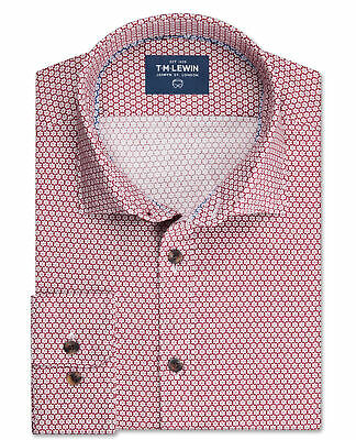 T.M.Lewin Mens Slim fit Navy and Grey Gingham Single Cuff Shirt