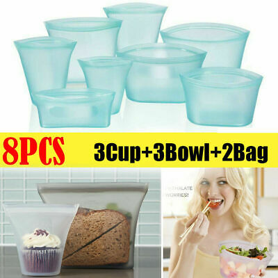 8Pcs Reusable Silicone Food Storage Bags Zip Leakproof Containers Plastic-Free